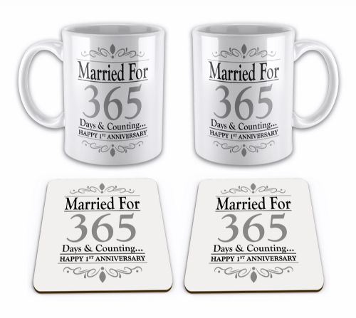 Set of Married For... Days & Counting... (1st - 70th) Novelty Gift Mugs with Coasters